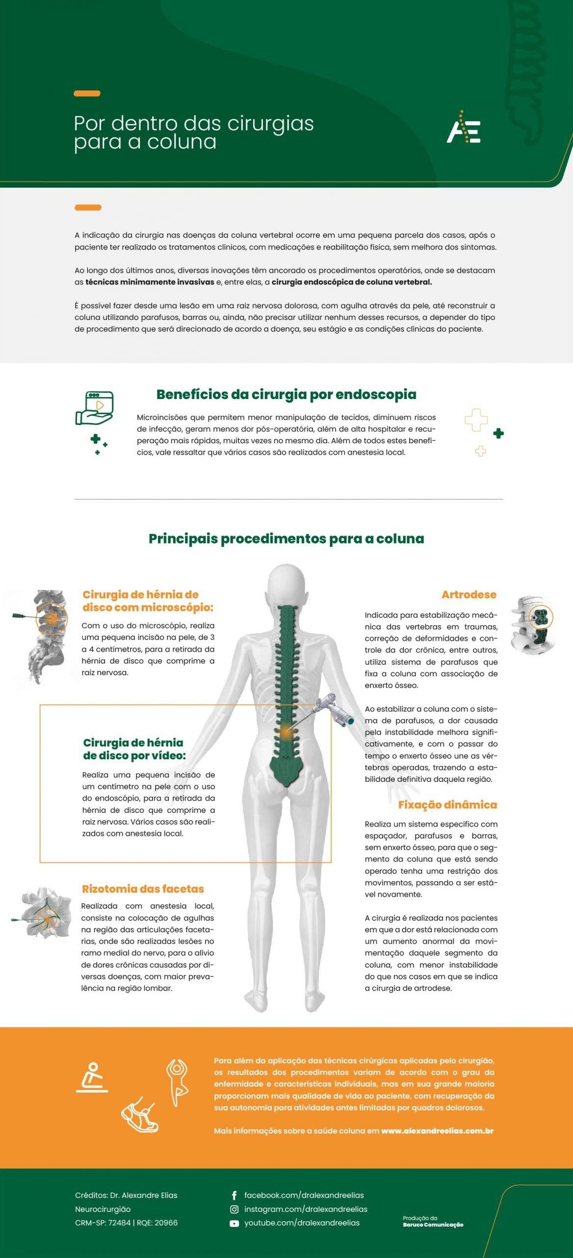 nfográfico por dentro das cirurgias para a coluna - 2021 - Dr. Alexandre Elias